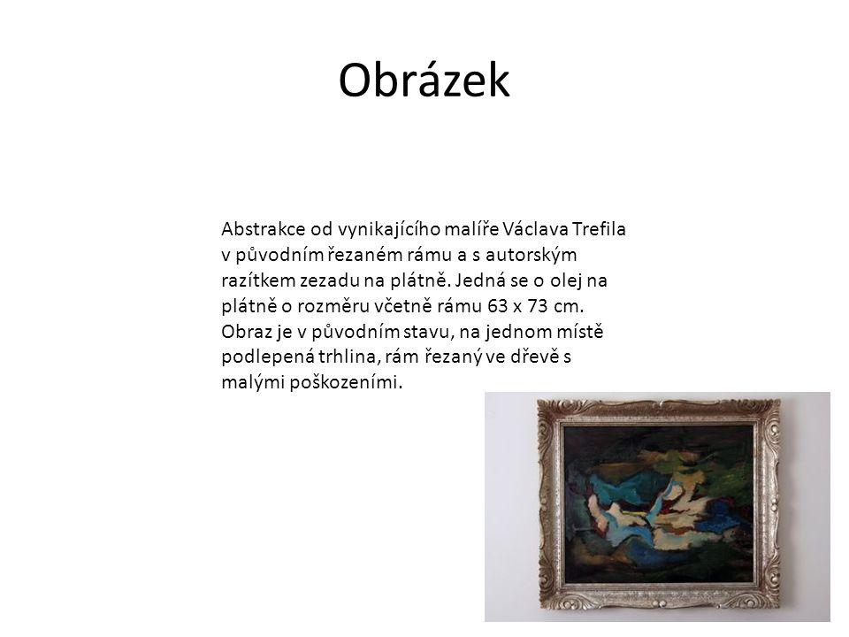 Obrázek Abstrakce od vynikajícího malíře Václava Trefila v původním řezaném rámu a s autorským razítkem zezadu na plátně.