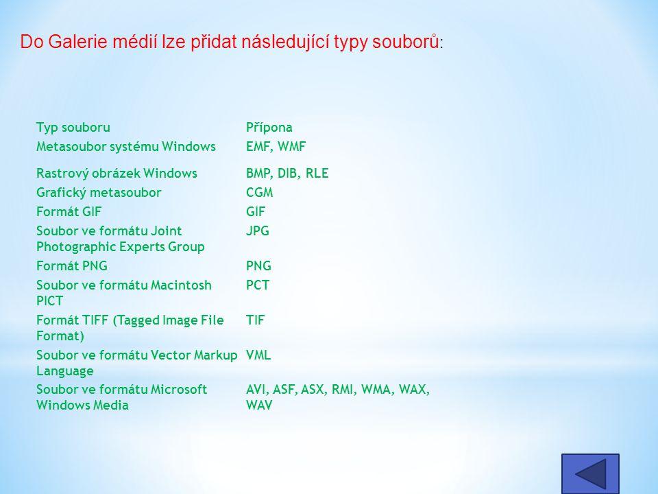 Typ souboruPřípona Metasoubor systému WindowsEMF, WMF Rastrový obrázek WindowsBMP, DIB, RLE Grafický metasouborCGM Formát GIFGIF Soubor ve formátu Joint Photographic Experts Group JPG Formát PNGPNG Soubor ve formátu Macintosh PICT PCT Formát TIFF (Tagged Image File Format) TIF Soubor ve formátu Vector Markup Language VML Soubor ve formátu Microsoft Windows Media AVI, ASF, ASX, RMI, WMA, WAX, WAV Do Galerie médií lze přidat následující typy souborů :