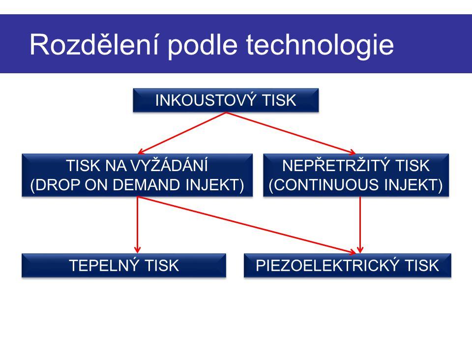Rozdělení podle technologie INKOUSTOVÝ TISK TISK NA VYŽÁDÁNÍ (DROP ON DEMAND INJEKT) TISK NA VYŽÁDÁNÍ (DROP ON DEMAND INJEKT) NEPŘETRŽITÝ TISK (CONTIN