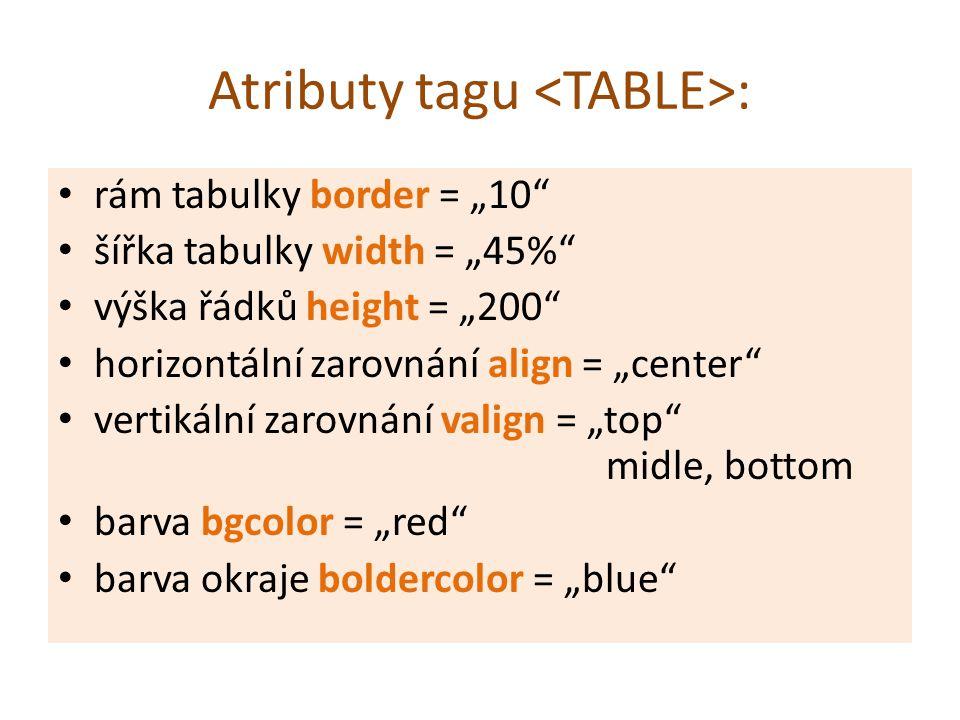 """Atributy tagu : rám tabulky border = """"10 šířka tabulky width = """"45% výška řádků height = """"200 horizontální zarovnání align = """"center vertikální zarovnání valign = """"top midle, bottom barva bgcolor = """"red barva okraje boldercolor = """"blue"""