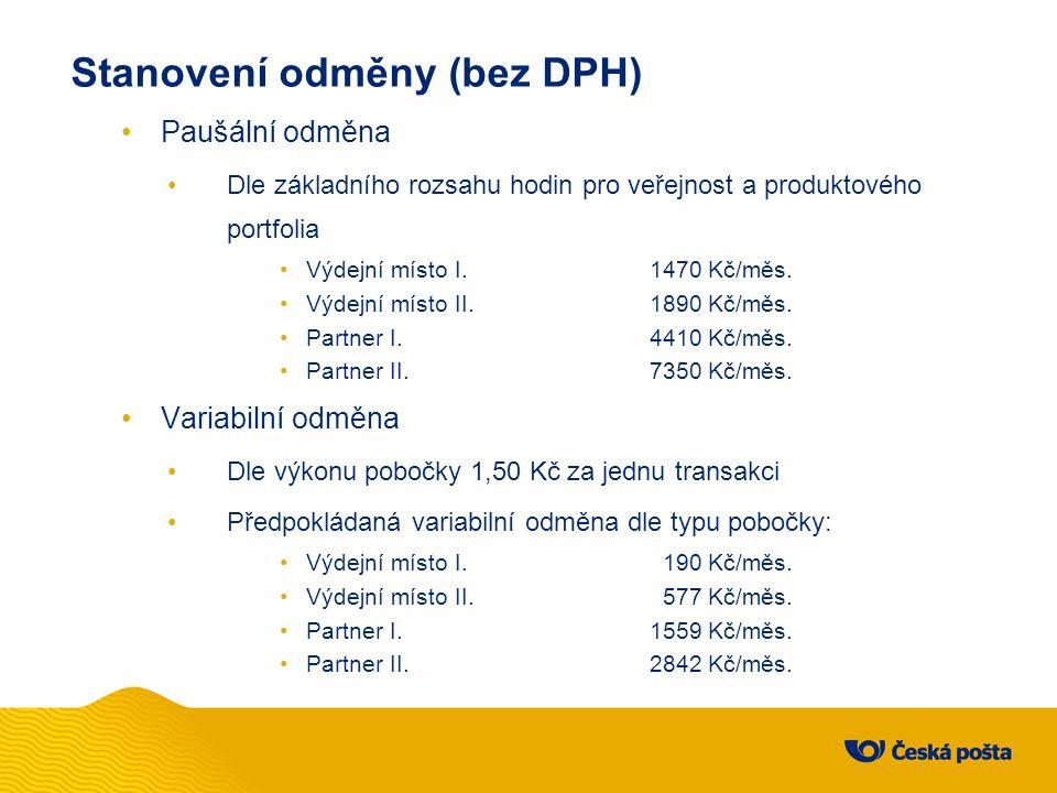 Stanovení odměny (bez DPH) Paušální odměna Dle základního rozsahu hodin pro veřejnost a produktového portfolia Výdejní místo I.1470 Kč/měs. Výdejní mí