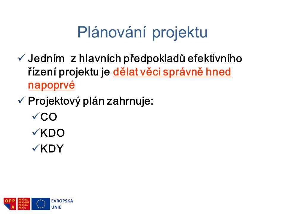 Plánování projektu Co když.Identifikace rizik Pravděpodobnost výskytu Co.