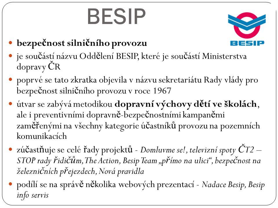 BESIP bezpe č nost silni č ního provozu je sou č ástí názvu Odd ě lení BESIP, které je sou č ástí Ministerstva dopravy Č R poprvé se tato zkratka obje