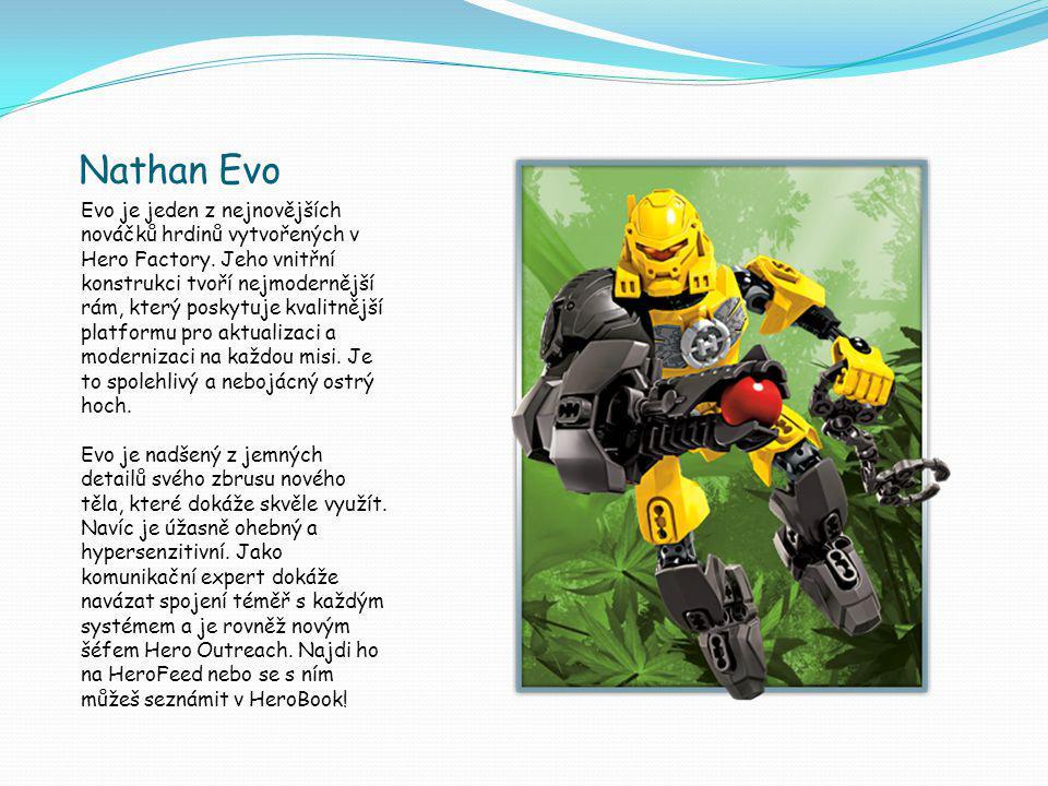 Nathan Evo Evo je jeden z nejnovějších nováčků hrdinů vytvořených v Hero Factory.