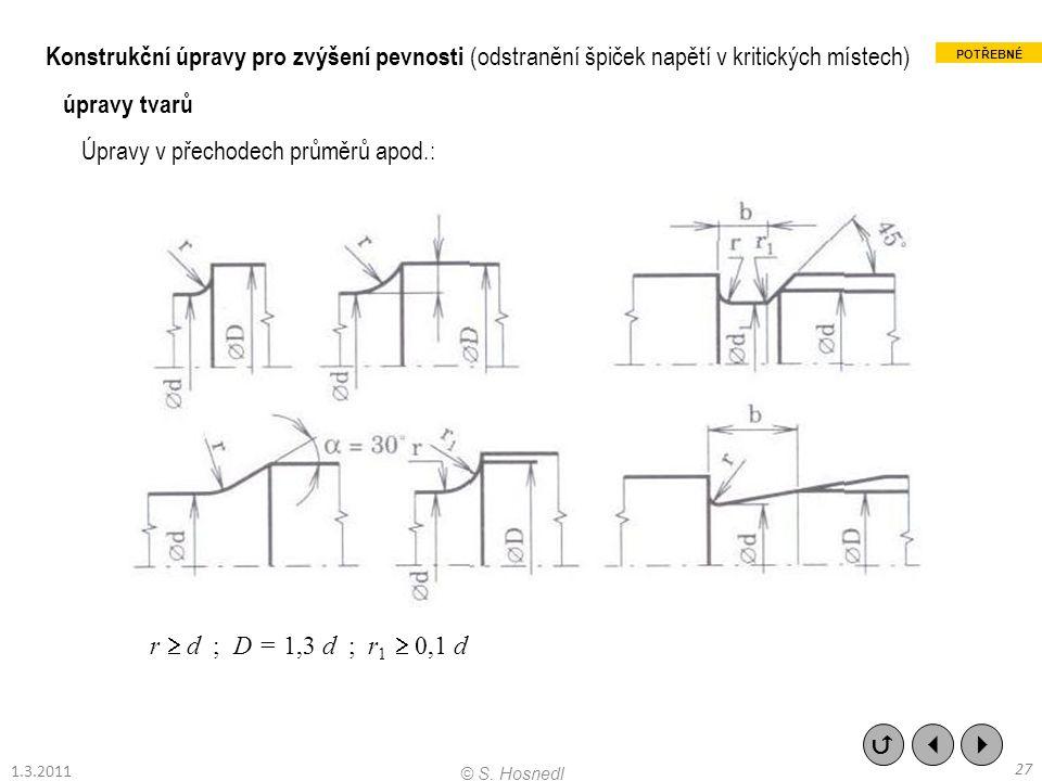Konstrukční úpravy pro zvýšení pevnosti (odstranění špiček napětí v kritických místech) úpravy tvarů Úpravy v přechodech průměrů apod.: r  d ; D = 1,