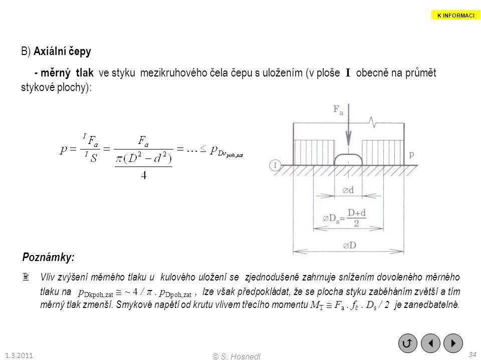 B) Axiální čepy - měrný tlak ve styku mezikruhového čela čepu s uložením (v ploše I obecně na průmět stykové plochy): Poznámky:  Vliv zvýšení měrného