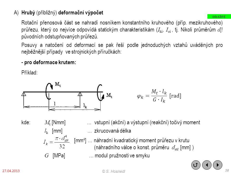 A) Hrubý (přibližný) deformační výpočet Rotační přenosová část se nahradí nosníkem konstantního kruhového (příp. mezikruhového) průřezu, který co nejv