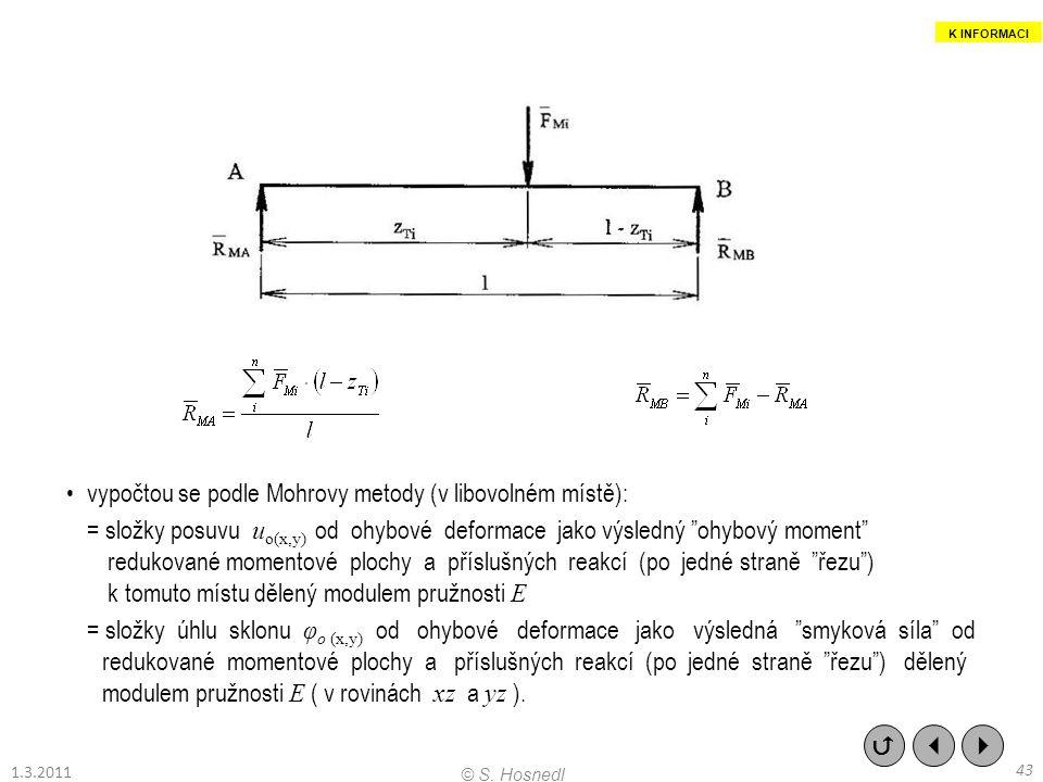 """vypočtou se podle Mohrovy metody (v libovolném místě): = složky posuvu u o(x,y) od ohybové deformace jako výsledný """"ohybový moment"""" redukované momento"""