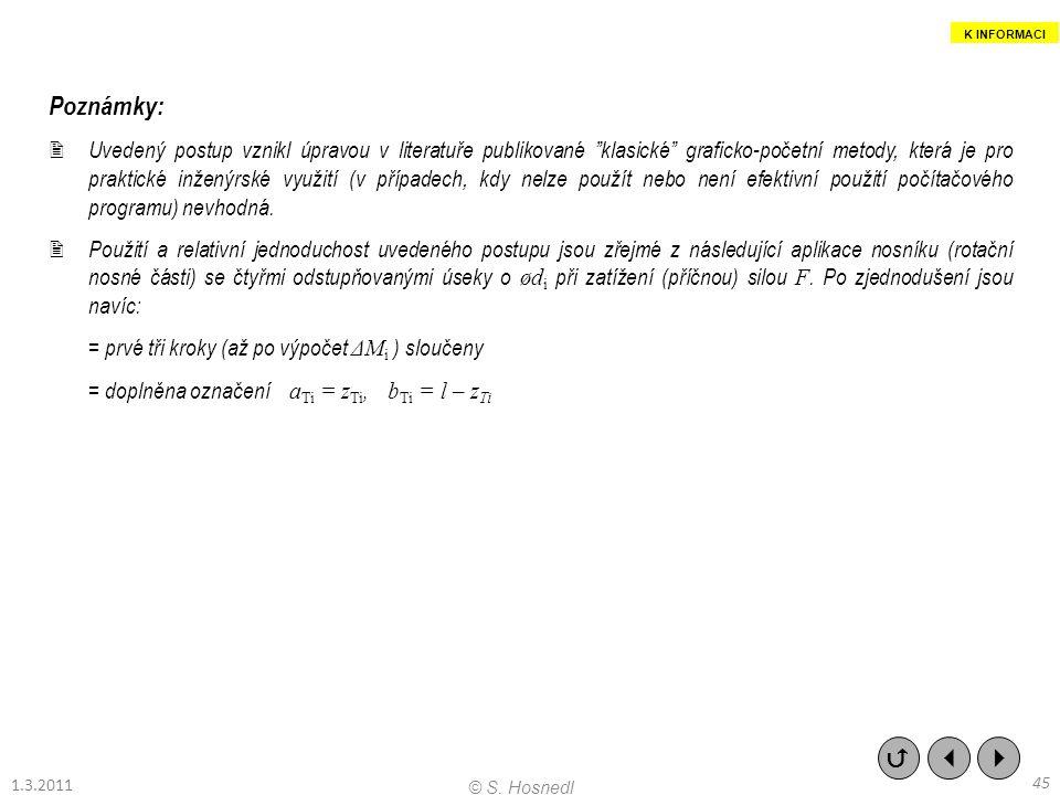 """Poznámky:  Uvedený postup vznikl úpravou v literatuře publikované """"klasické"""" graficko-početní metody, která je pro praktické inženýrské využití (v př"""