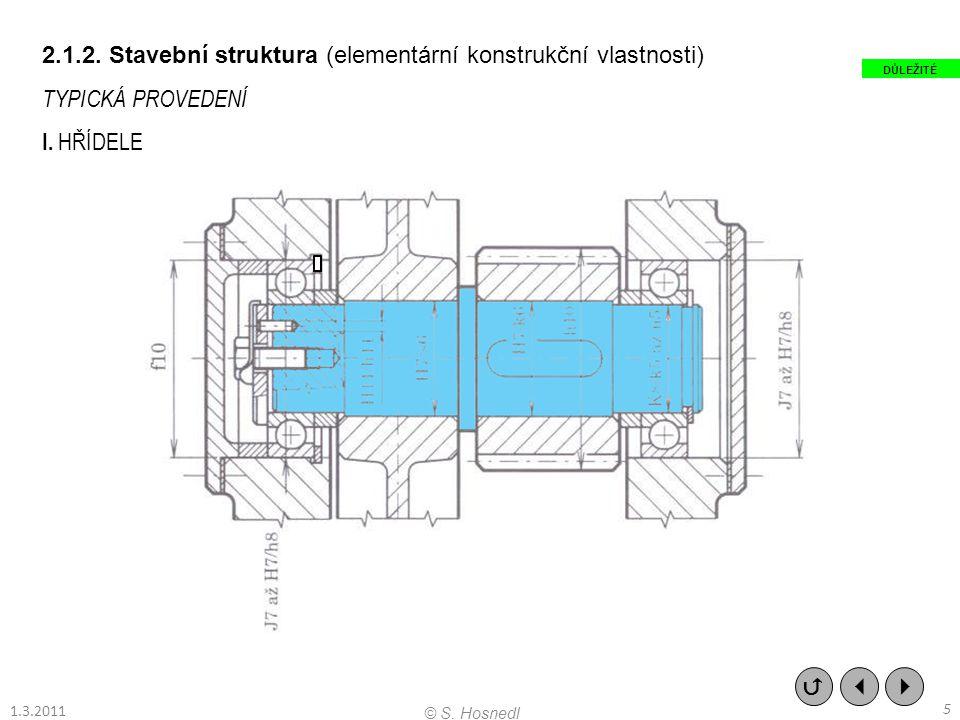 2.1.2. Stavební struktura (elementární konstrukční vlastnosti) TYPICKÁ PROVEDENÍ I. HŘÍDELE    5 © S. Hosnedl DŮLEŽITÉ 1.3.2011