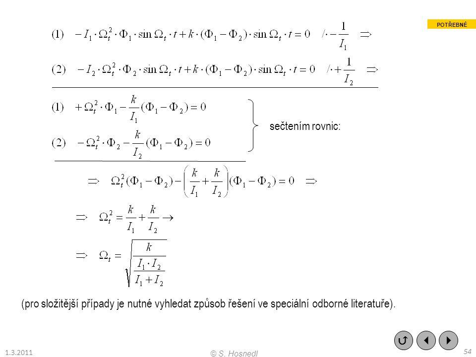 (pro složitější případy je nutné vyhledat způsob řešení ve speciální odborné literatuře). sečtením rovnic:    54 © S. Hosnedl 1.3.2011 POTŘEBNÉ