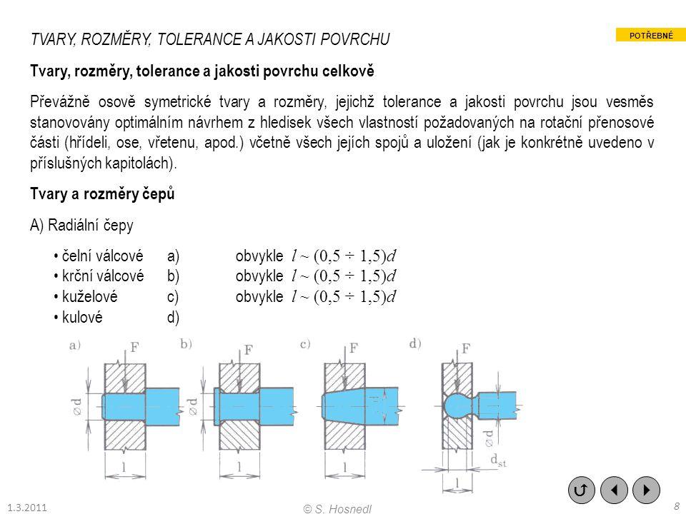 TVARY, ROZMĚRY, TOLERANCE A JAKOSTI POVRCHU Tvary, rozměry, tolerance a jakosti povrchu celkově Převážně osově symetrické tvary a rozměry, jejichž tol