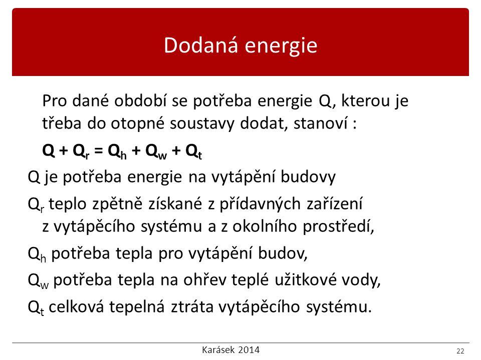 Karásek 2014 Pro dané období se potřeba energie Q, kterou je třeba do otopné soustavy dodat, stanoví : Q + Q r = Q h + Q w + Q t Q je potřeba energie