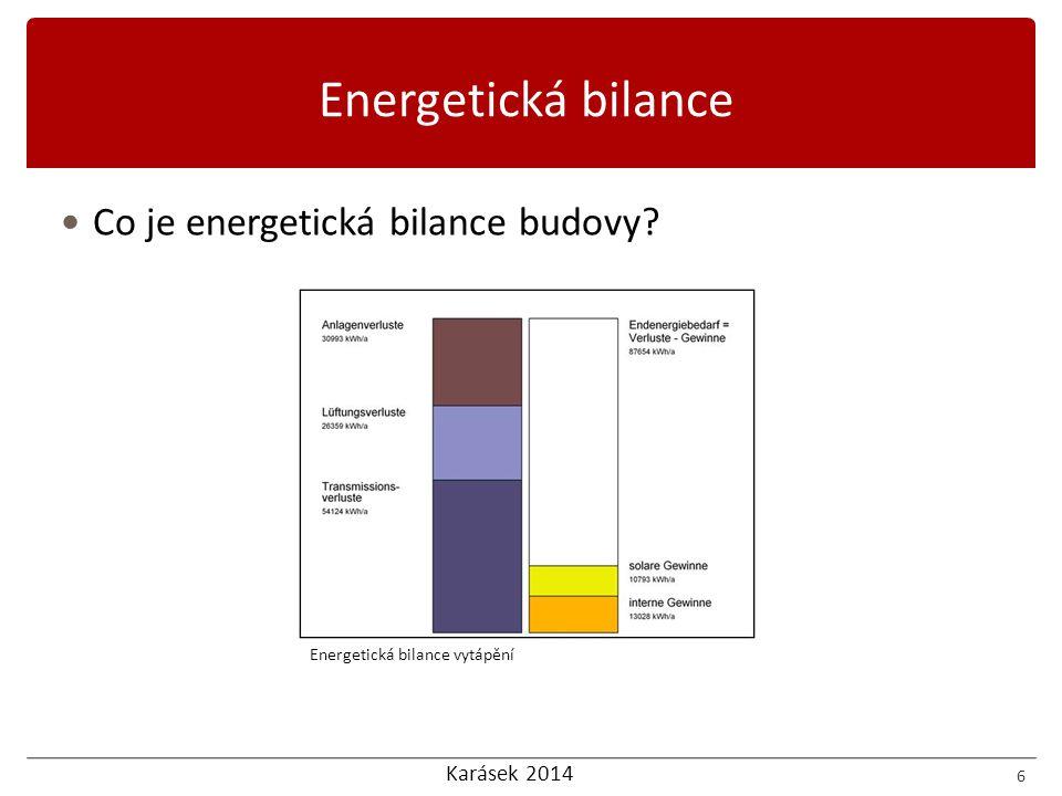 Karásek 2014 Co je energetická bilance budovy? 6 Energetická bilance vytápění Energetická bilance