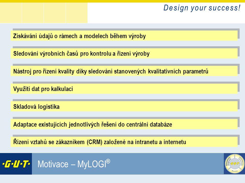 D e s i g n y o u r s u c c e s s ! GIesserei Umwelt Technik GmbH Motivace – MyLOGI ® Získávání údajů o rámech a modelech během výroby Sledování výrob