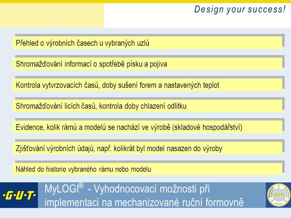 D e s i g n y o u r s u c c e s s ! GIesserei Umwelt Technik GmbH MyLOGI ® - Vyhodnocovací možnosti při implementaci na mechanizované ruční formovně P