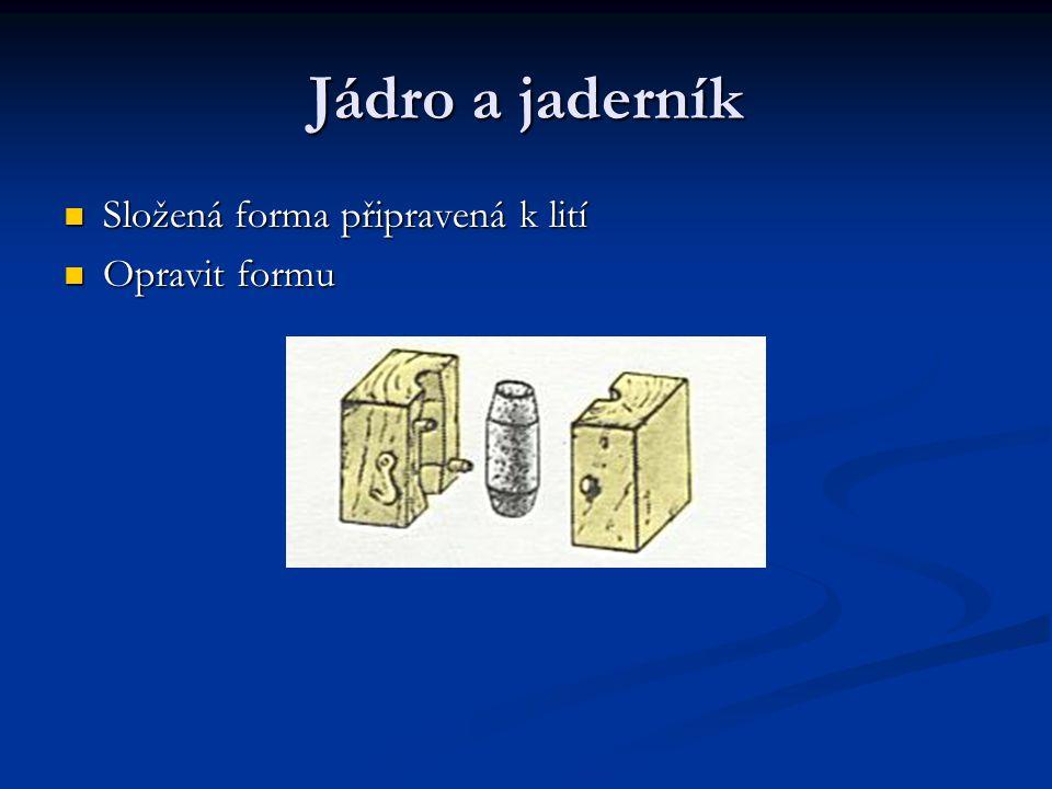 Jádro a jaderník Složená forma připravená k lití Složená forma připravená k lití Opravit formu Opravit formu