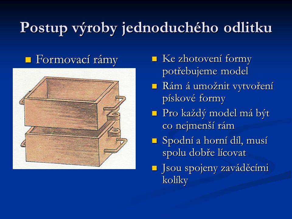Postup výroby jednoduchého odlitku Ke zhotovení formy potřebujeme model Rám á umožnit vytvoření pískové formy Pro každý model má být co nejmenší rám Spodní a horní díl, musí spolu dobře lícovat Jsou spojeny zaváděcími kolíky Formovací rámy Formovací rámy