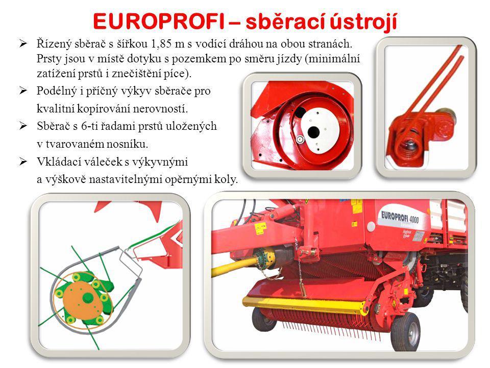 EUROPROFI4000 L / D4500 L / D5000 L / D Objem ložného prostoru - m³404550 Objem ložného prostoru dle DIN - m³25,5 / 2528,5 / 2831,5 / 31 Celková délka - mm8 460 / 8 9309 150 / 9 620 Celková šířka - mm2 450 Celková výška - mm3 6803 880 Rozchod kol - mm1 850 Standardní pneumatiky560/45 R 22,5 Hmotnost - kg5 800 / 6 2505 900 / 6 3506 050 / 6 500 Stabilní senážní vůz s minimálními nároky na údržbu a příkon traktoru.