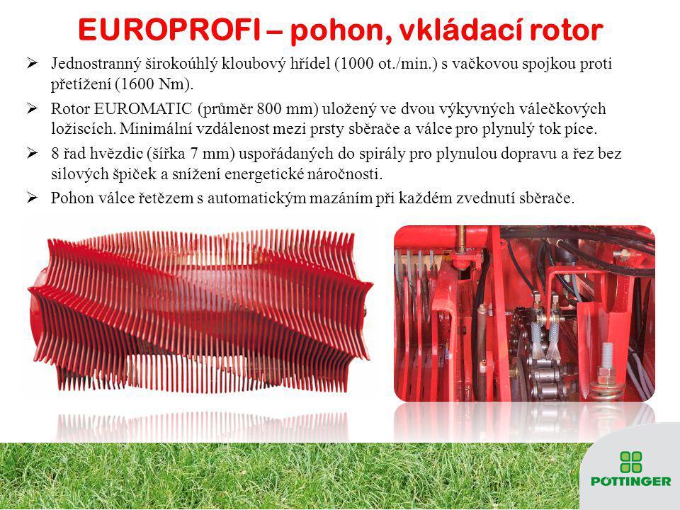 EUROPROFI – pohon, vkládací rotor JJ ednostranný širokoúhlý kloubový hřídel (1000 ot./min.) s vačkovou spojkou proti přetížení (1600 Nm).