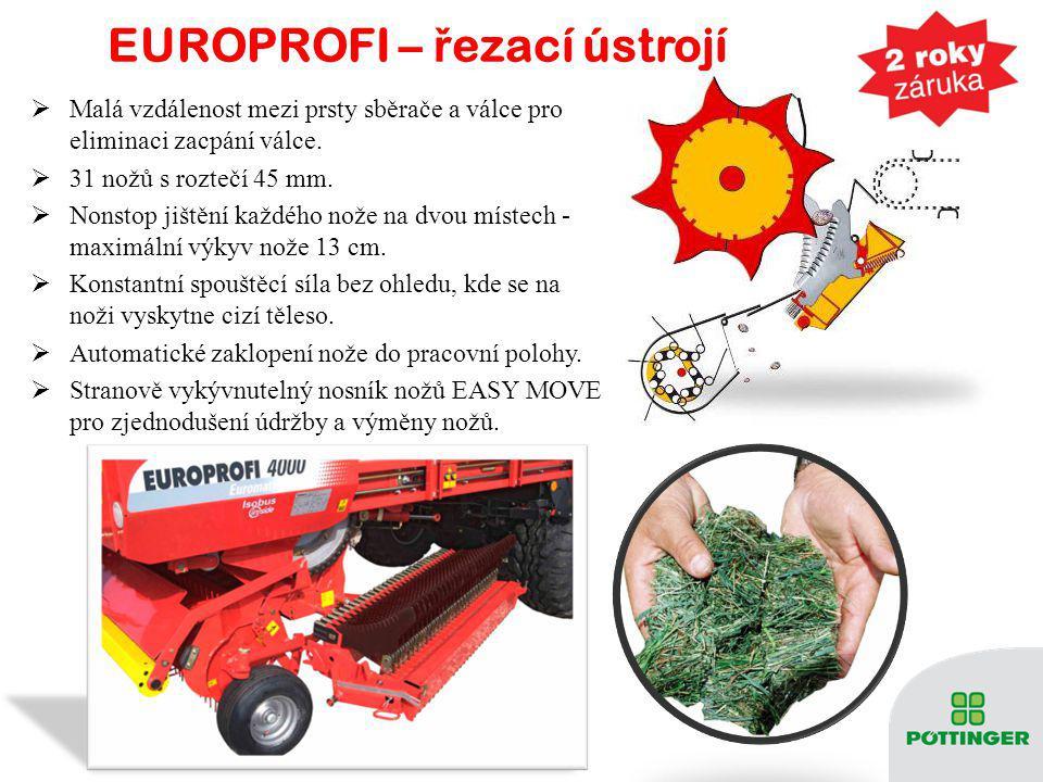 EUROPROFI – ř ezací ústrojí  Malá vzdálenost mezi prsty sběrače a válce pro eliminaci zacpání válce.