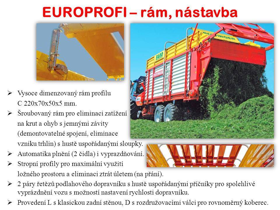 EUROPROFI – rám, nástavba  Vysoce dimenzovaný rám profilu C 220x70x50x5 mm.