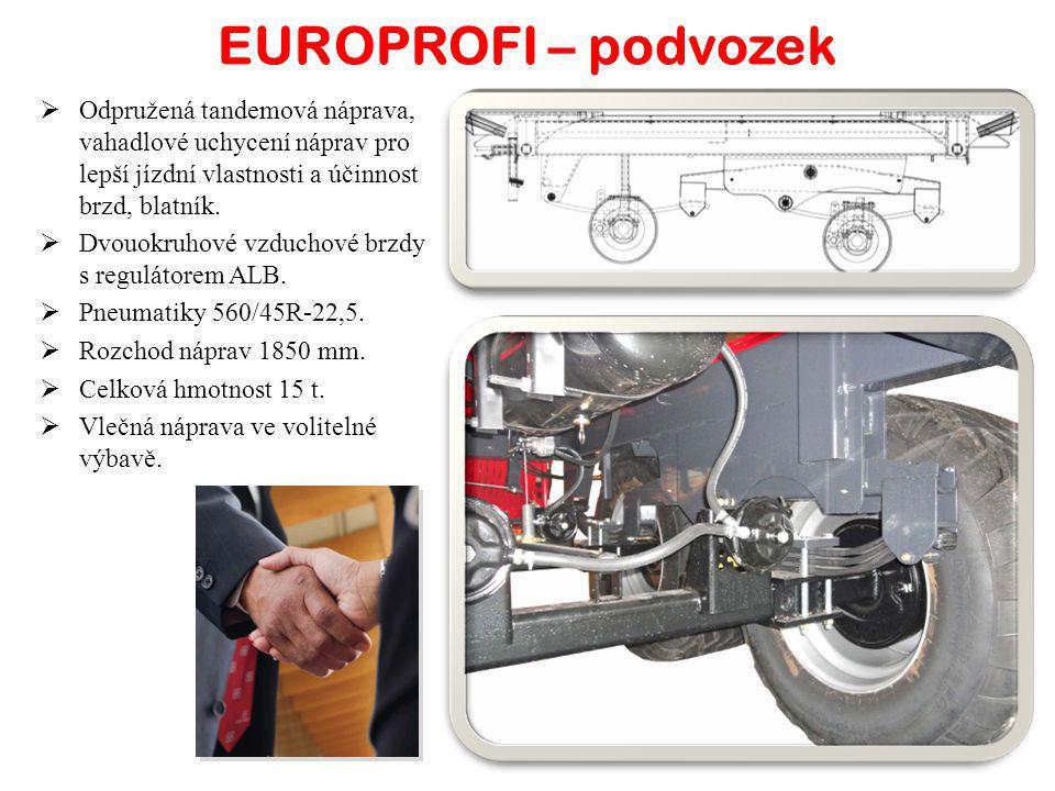 EUROPROFI – podvozek  Odpružená tandemová náprava, vahadlové uchycení náprav pro lepší jízdní vlastnosti a účinnost brzd, blatník.