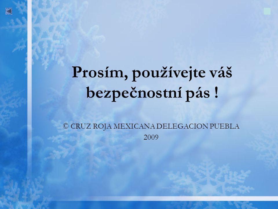 © CRUZ ROJA MEXICANA DELEGACION PUEBLA 2009 Prosím, používejte váš bezpečnostní pás !