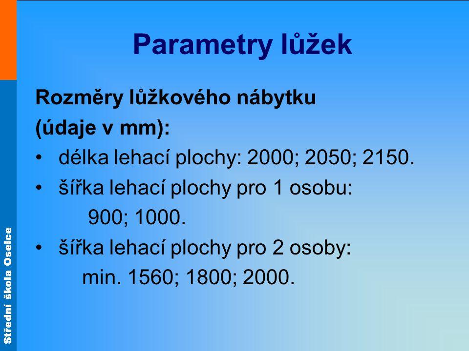 Střední škola Oselce Parametry lůžek Rozměry lůžkového nábytku (údaje v mm): délka lehací plochy: 2000; 2050; 2150.