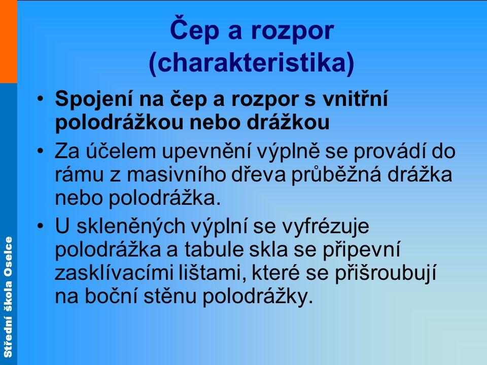 Střední škola Oselce Čep a rozpor (charakteristika) Spojení na čep a rozpor s vnitřní polodrážkou nebo drážkou Za účelem upevnění výplně se provádí do