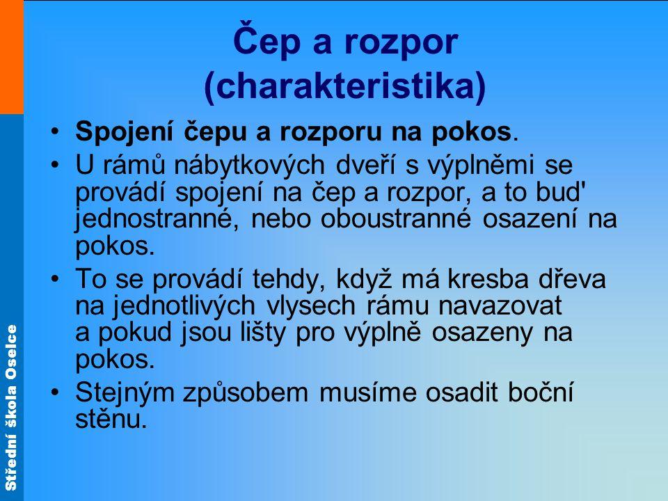 Střední škola Oselce Čep a rozpor (charakteristika) Spojení čepu a rozporu na pokos.