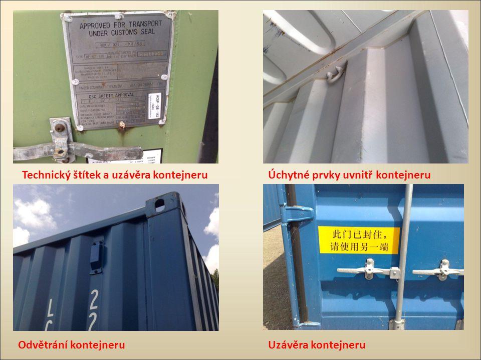 Technický štítek a uzávěra kontejneru Odvětrání kontejneru Úchytné prvky uvnitř kontejneru Uzávěra kontejneru