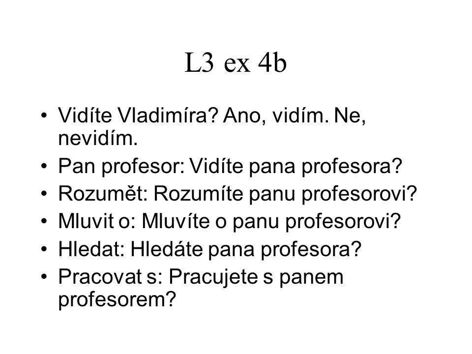 L3 ex 4b Vidíte Vladimíra? Ano, vidím. Ne, nevidím. Pan profesor: Vidíte pana profesora? Rozumět: Rozumíte panu profesorovi? Mluvit o: Mluvíte o panu