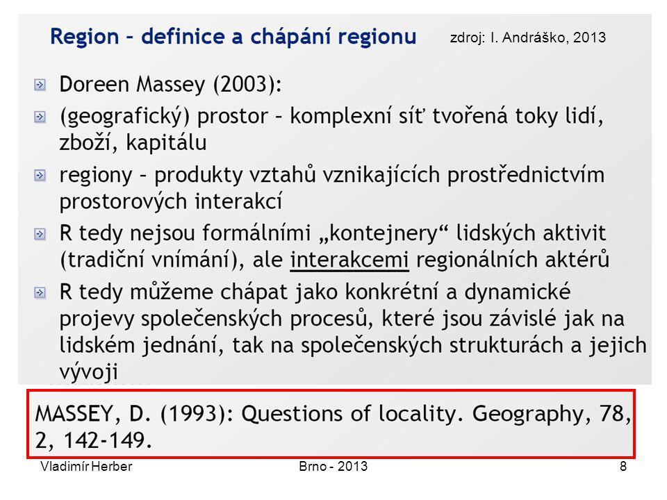Vladimír HerberBrno - 201329 Mikroregiony intenzivní procesy jsou uzavřeny dojížďka za prací / základním vzděláním dojížďka za službami velké kvalitativní i kvantitativní rozdíly v jednotlivých mikroregionech mikroregiony 1.