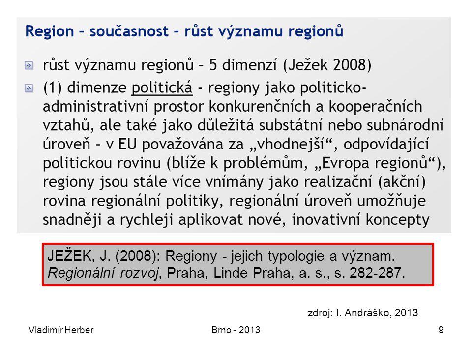 Vladimír HerberBrno - 201320 Mikroregiony v současné reg.