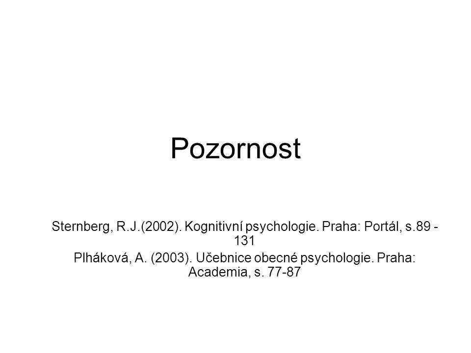 Pozornost Sternberg, R.J.(2002). Kognitivní psychologie. Praha: Portál, s.89 - 131 Plháková, A. (2003). Učebnice obecné psychologie. Praha: Academia,