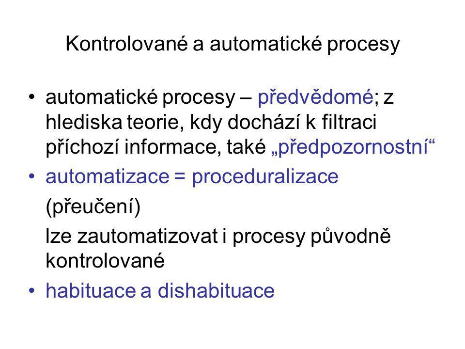 """Kontrolované a automatické procesy automatické procesy – předvědomé; z hlediska teorie, kdy dochází k filtraci příchozí informace, také """"předpozornostní automatizace = proceduralizace (přeučení) lze zautomatizovat i procesy původně kontrolované habituace a dishabituace"""
