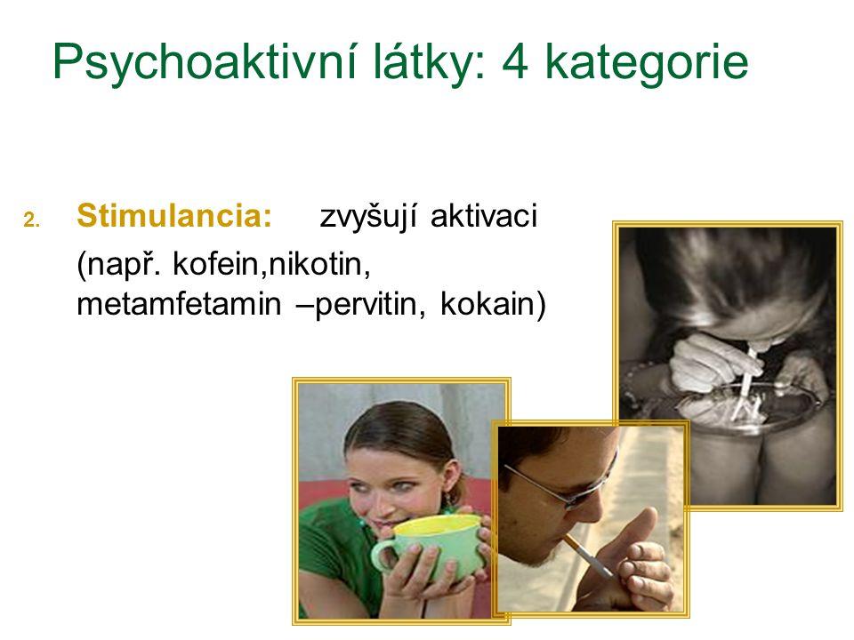 2. Stimulancia: zvyšují aktivaci (např. kofein,nikotin, metamfetamin –pervitin, kokain) Psychoaktivní látky: 4 kategorie