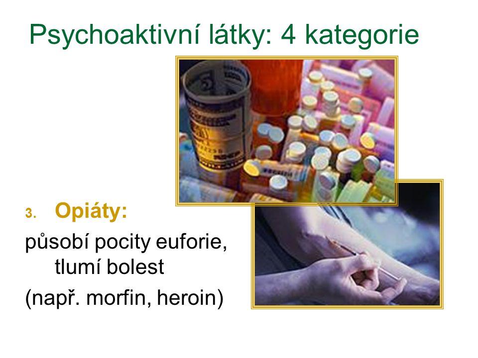 3. Opiáty: působí pocity euforie, tlumí bolest (např. morfin, heroin) Psychoaktivní látky: 4 kategorie
