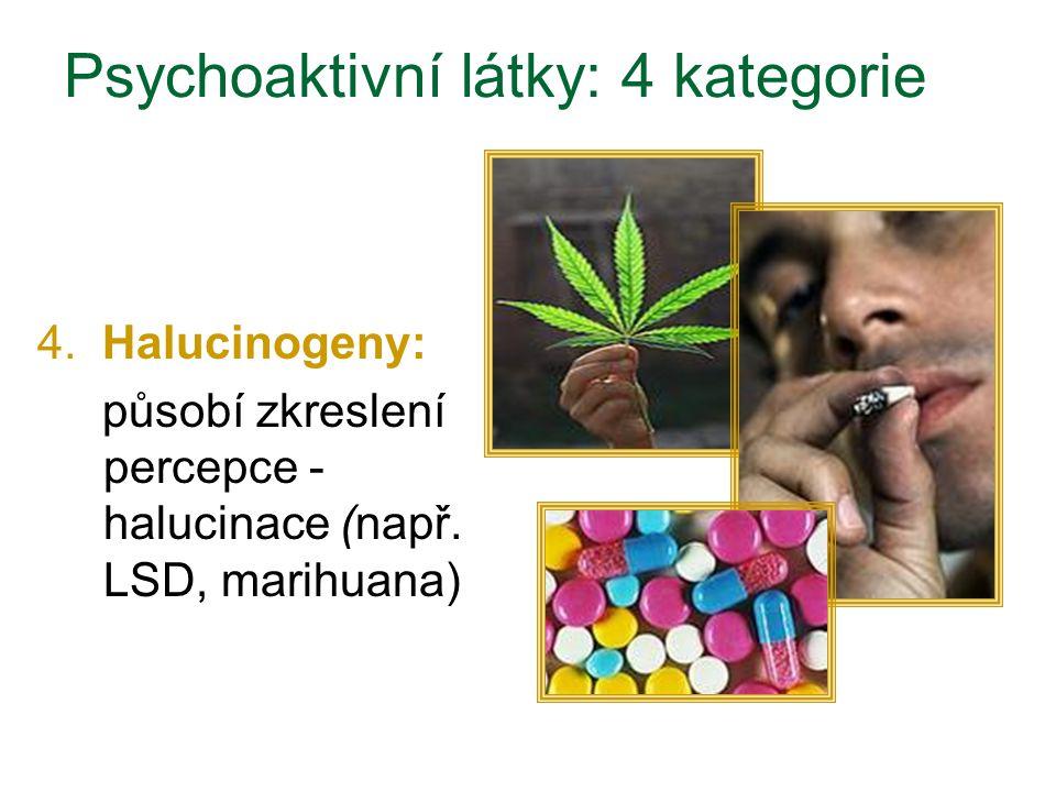 4. Halucinogeny: působí zkreslení percepce - halucinace (např. LSD, marihuana) Psychoaktivní látky: 4 kategorie
