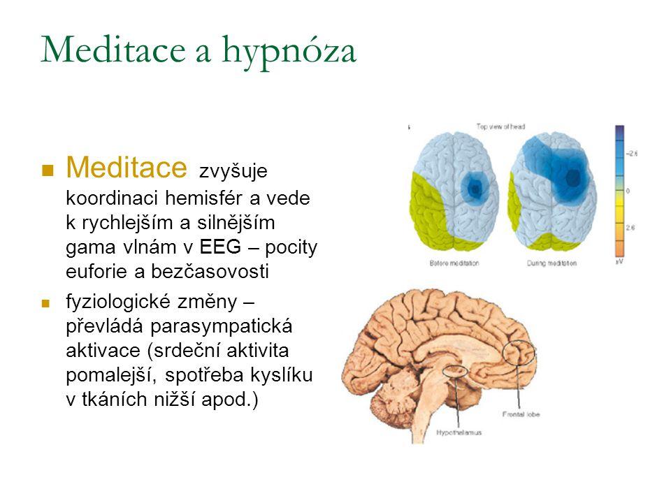 Meditace a hypnóza Meditace zvyšuje koordinaci hemisfér a vede k rychlejším a silnějším gama vlnám v EEG – pocity euforie a bezčasovosti fyziologické