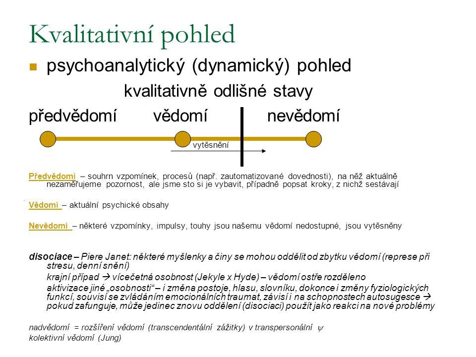 Kvalitativní pohled psychoanalytický (dynamický) pohled kvalitativně odlišné stavy předvědomí vědomí nevědomí vytěsnění Předvědomí – souhrn vzpomínek,