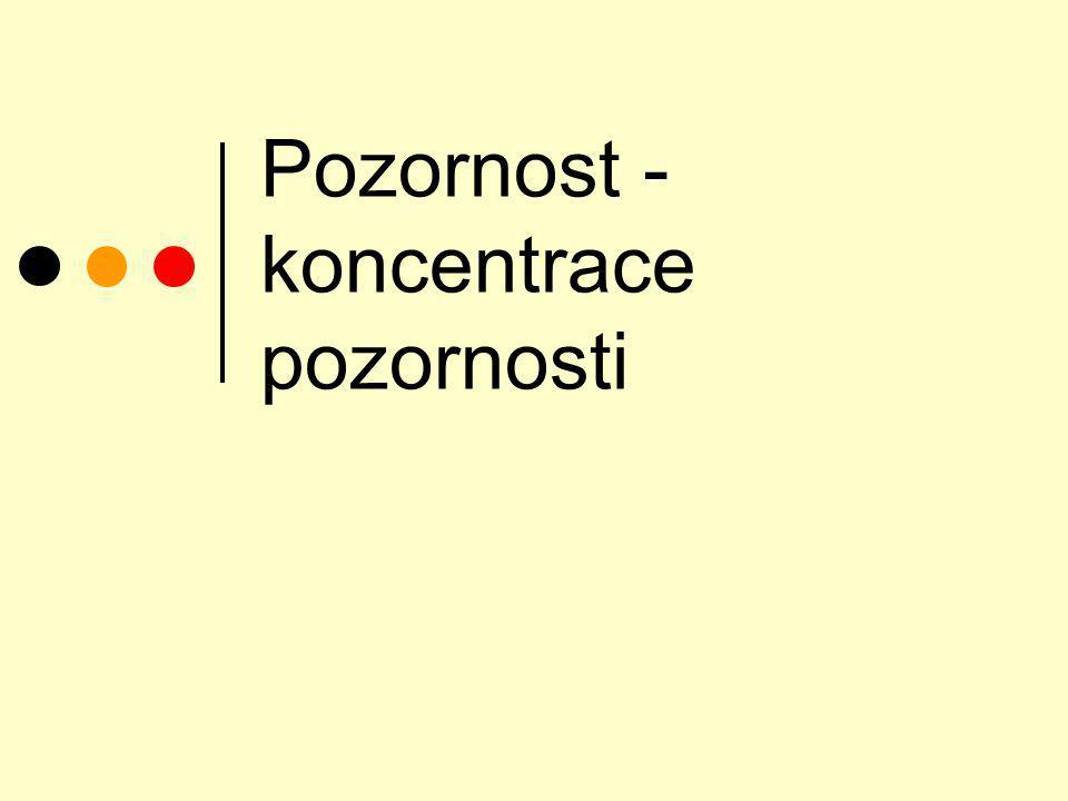 Druhy pozornosti posturální pozornost (nastražení, pohotovost, spojena s emočním prožíváním) bezděčná pozornost (orientační reflex) záměrná pozornost (koncentrace)