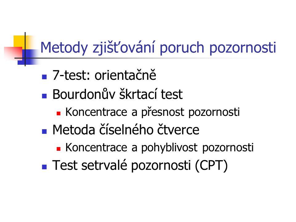 Metody zjišťování poruch pozornosti 7-test: orientačně Bourdonův škrtací test Koncentrace a přesnost pozornosti Metoda číselného čtverce Koncentrace a