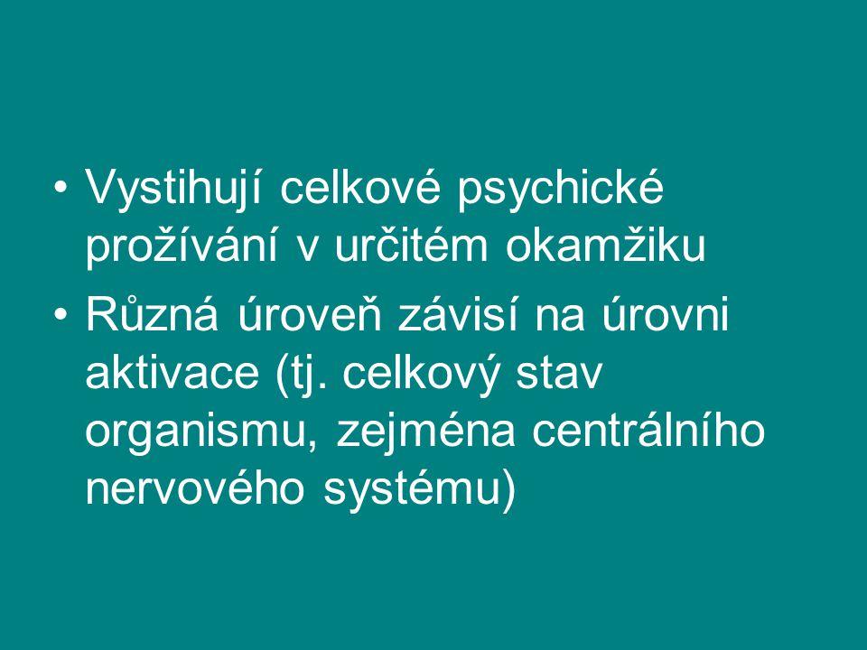 Vystihují celkové psychické prožívání v určitém okamžiku Různá úroveň závisí na úrovni aktivace (tj. celkový stav organismu, zejména centrálního nervo