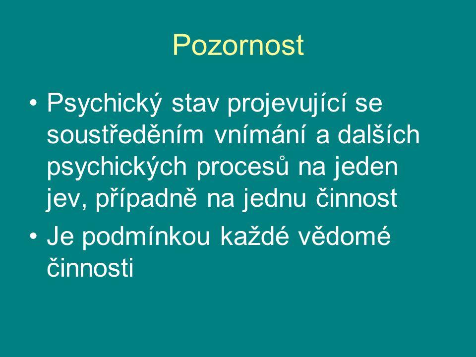 Pozornost Psychický stav projevující se soustředěním vnímání a dalších psychických procesů na jeden jev, případně na jednu činnost Je podmínkou každé
