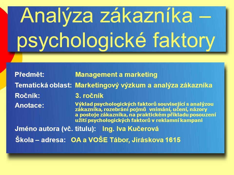 Analýza zákazníka – psychologické faktory Jméno autora (vč.