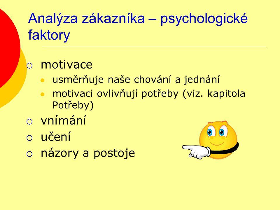Analýza zákazníka – psychologické faktory  motivace usměrňuje naše chování a jednání motivaci ovlivňují potřeby (viz.
