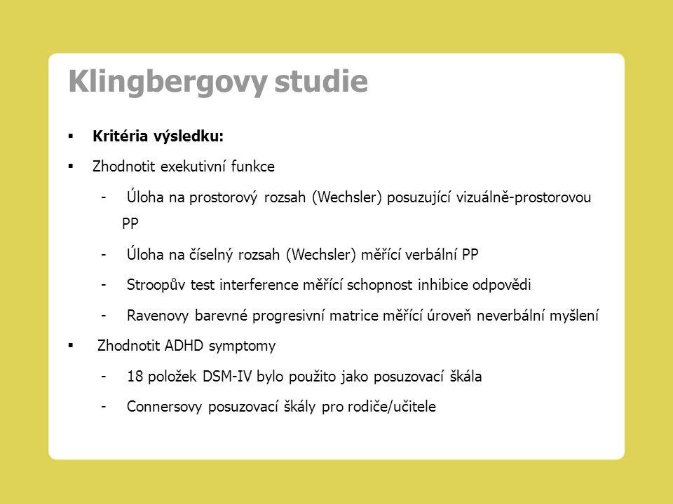 Klingbergovy studie  Kritéria výsledku:  Zhodnotit exekutivní funkce - Úloha na prostorový rozsah (Wechsler) posuzující vizuálně-prostorovou PP - Úl