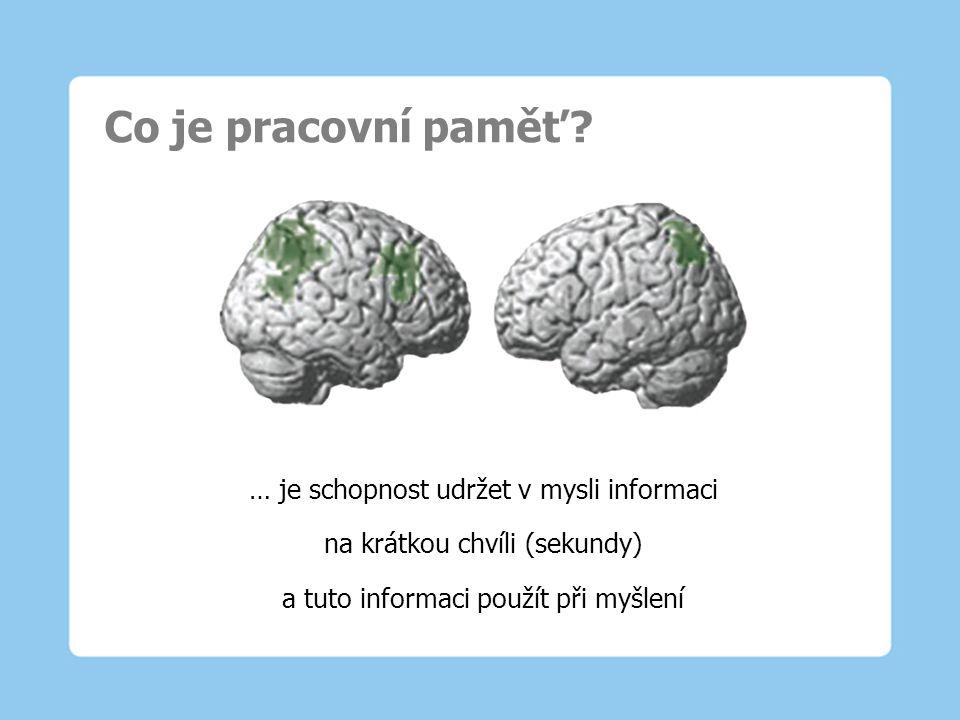 Co je pracovní paměť? … je schopnost udržet v mysli informaci na krátkou chvíli (sekundy) a tuto informaci použít při myšlení